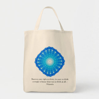 Hypatia Quote about freedom of thought Grocery Tote Bag