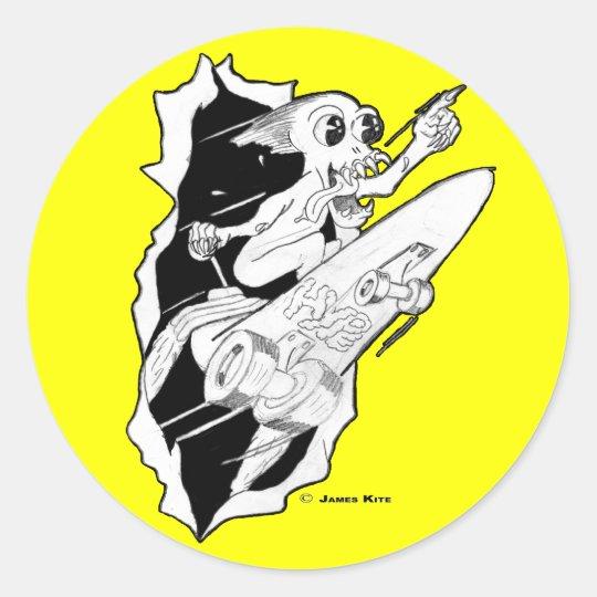 HYPE: Rocket Powered Skateboard Classic Round Sticker
