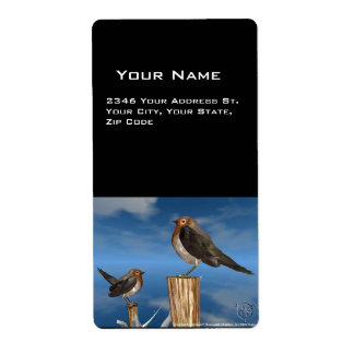 HYPER BIRDS / ROBIN RED BREAST PERSONALIZED SHIPPING LABELS