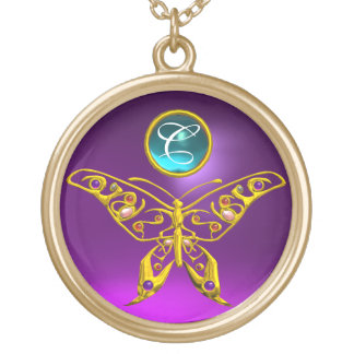 HYPER BUTTERFLY  Amethyst -  Aquamarine Monogram Gold Plated Necklace