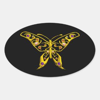 HYPER BUTTERFLY, black Oval Sticker