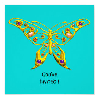 HYPER BUTTERFLY ,blue 5.25x5.25 Square Paper Invitation Card