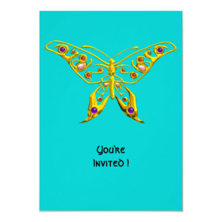 HYPER BUTTERFLY ,blue 5x7 Paper Invitation Card