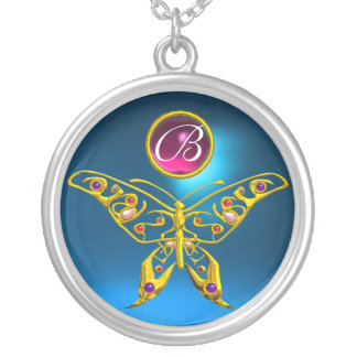 HYPER BUTTERFLY , Blue Sapphire Amethyst Monogram Silver Plated Necklace
