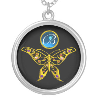 HYPER BUTTERFLY , Blue Sapphire Black Monogram Silver Plated Necklace