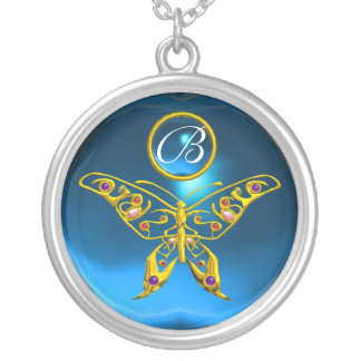 HYPER BUTTERFLY , Blue Sapphire Monogram Silver Plated Necklace
