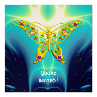 HYPER BUTTERFLY blue turquase,yellow gold metallic 5.25x5.25 Square Paper Invitation Card