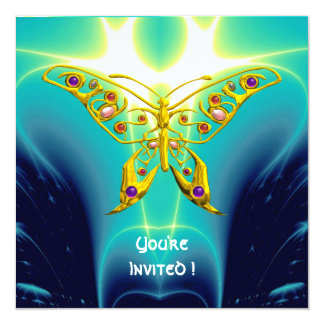 HYPER BUTTERFLY blue turquase,yellow 5.25x5.25 Square Paper Invitation Card