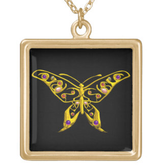 HYPER BUTTERFLY , Gold Black Gold Plated Necklace