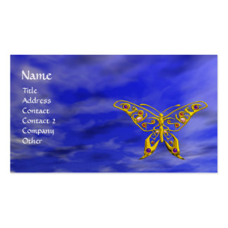 HYPER BUTTERFLY IN VIBRANT BLUE SKY BUSINESS CARD TEMPLATES