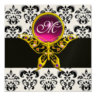 HYPER BUTTERFLY MONOGRAM,black white damask, pink Card