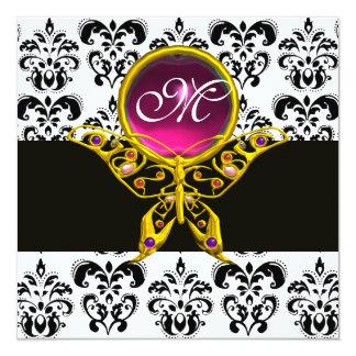 HYPER BUTTERFLY MONOGRAM,black white damask, pink 5.25x5.25 Square Paper Invitation Card