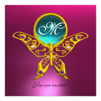 HYPER BUTTERFLY MONOGRAM,blue,aquamarine pink Card
