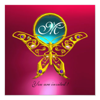 HYPER BUTTERFLY MONOGRAM,blue,aquamarine pink red 5.25x5.25 Square Paper Invitation Card