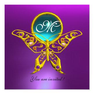 HYPER BUTTERFLY MONOGRAM,blue,aquamarine purple 5.25x5.25 Square Paper Invitation Card