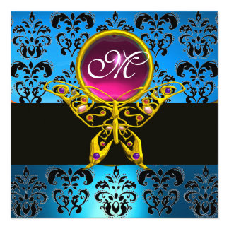 HYPER BUTTERFLY MONOGRAM,blue damask, pink gem Card