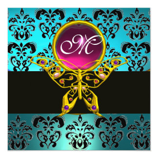 HYPER BUTTERFLY MONOGRAM,blue damask pink turquase 5.25x5.25 Square Paper Invitation Card