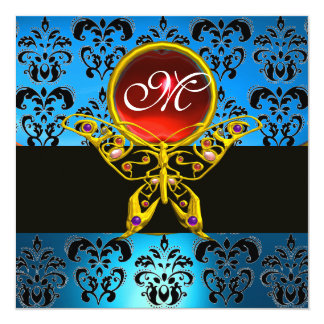 HYPER BUTTERFLY MONOGRAM,blue damask, red ruby 5.25x5.25 Square Paper Invitation Card
