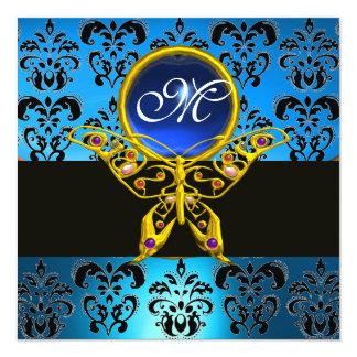 HYPER BUTTERFLY MONOGRAM,blue damask,sapphire 5.25x5.25 Square Paper Invitation Card