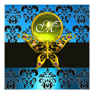 HYPER BUTTERFLY MONOGRAM,blue damask, yellow gem 5.25x5.25 Square Paper Invitation Card