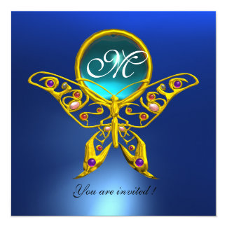 HYPER BUTTERFLY MONOGRAM,blue,turquase aquamarine Card