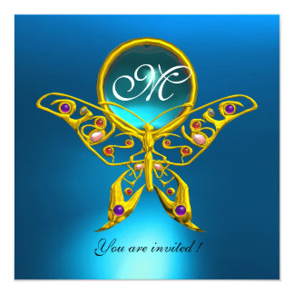 HYPER BUTTERFLY MONOGRAM,blue turquase aquamarine Card