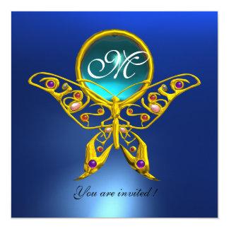 HYPER BUTTERFLY MONOGRAM,blue,turquase aquamarine 5.25x5.25 Square Paper Invitation Card