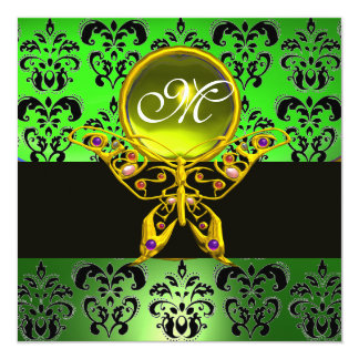 HYPER BUTTERFLY MONOGRAM,green damask, yellow gem 5.25x5.25 Square Paper Invitation Card