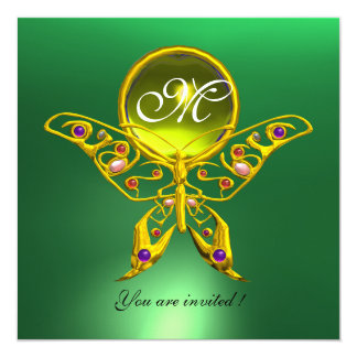 HYPER BUTTERFLY MONOGRAM, green ,yellow topaz 5.25x5.25 Square Paper Invitation Card