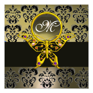 HYPER BUTTERFLY MONOGRAM,grey damask agate 5.25x5.25 Square Paper Invitation Card