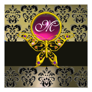 HYPER BUTTERFLY MONOGRAM,grey damask pink ruby red 5.25x5.25 Square Paper Invitation Card