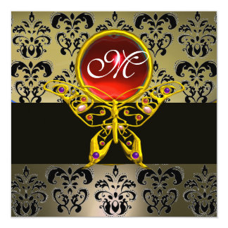 HYPER BUTTERFLY MONOGRAM,grey damask red ruby 5.25x5.25 Square Paper Invitation Card