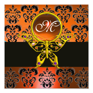 HYPER BUTTERFLY MONOGRAM, orange damask,yellow gem Card