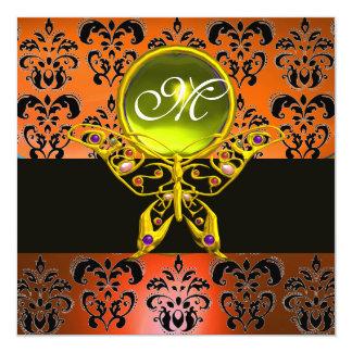 HYPER BUTTERFLY MONOGRAM, orange damask,yellow gem 5.25x5.25 Square Paper Invitation Card