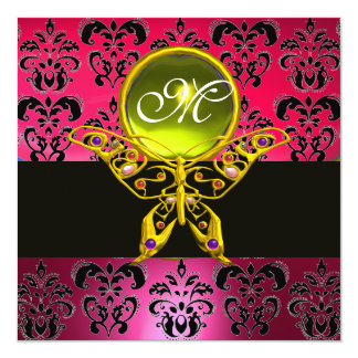 HYPER BUTTERFLY MONOGRAM, pink damask,yellow gem 5.25x5.25 Square Paper Invitation Card