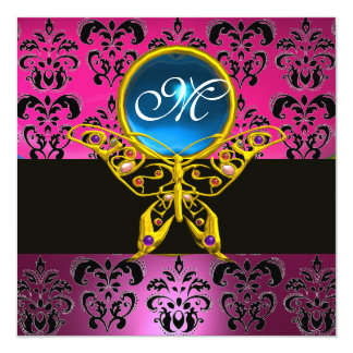 HYPER BUTTERFLY MONOGRAM,pink purple damask blue 5.25x5.25 Square Paper Invitation Card