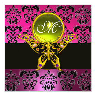 HYPER BUTTERFLY MONOGRAM,pink purple damask yellow 5.25x5.25 Square Paper Invitation Card