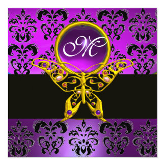 HYPER BUTTERFLY MONOGRAM,purple damask,amethyst Card