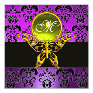 HYPER BUTTERFLY MONOGRAM,purple damask,yellow gem Card