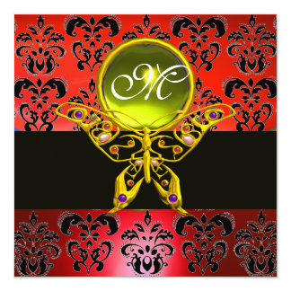 HYPER BUTTERFLY MONOGRAM,red damask, yellow gem 5.25x5.25 Square Paper Invitation Card