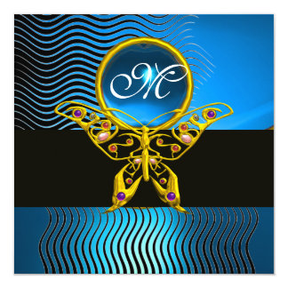 HYPER BUTTERFLY MONOGRAM,waves blue sapphire 5.25x5.25 Square Paper Invitation Card