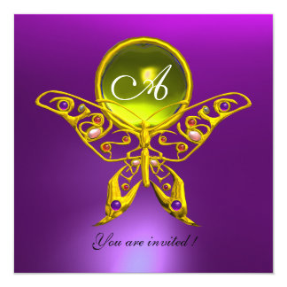 HYPER BUTTERFLY MONOGRAM,yellow topaz ,purple Card