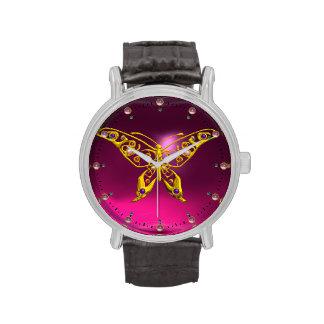 HYPER BUTTERFLY ,Pink Fuchsia Amethyst Wristwatches