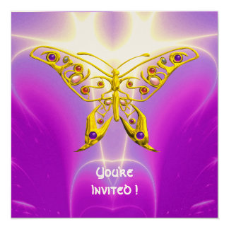 HYPER BUTTERFLY pink fuchsia violet champagne 5.25x5.25 Square Paper Invitation Card