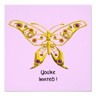 HYPER BUTTERFLY ,pink 5.25x5.25 Square Paper Invitation Card