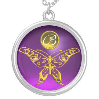 HYPER BUTTERFLY ,Purple Amethyst ,Topaz Monogram Silver Plated Necklace