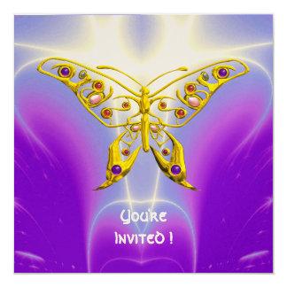 HYPER BUTTERFLY purple fuchsia violet champagne 5.25x5.25 Square Paper Invitation Card