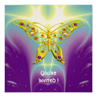 HYPER BUTTERFLY purple green violet champagne 5.25x5.25 Square Paper Invitation Card