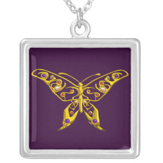 HYPER BUTTERFLY , Purple Silver Plated Necklace