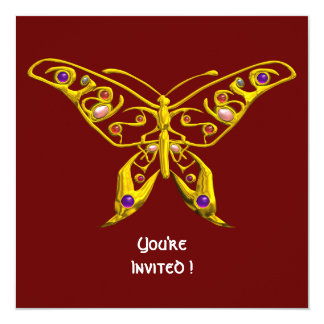 HYPER BUTTERFLY ,red 5.25x5.25 Square Paper Invitation Card